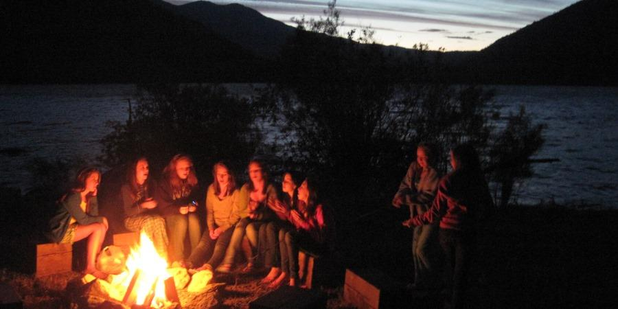Campfire with friends at the Lodge at Palmer Lake